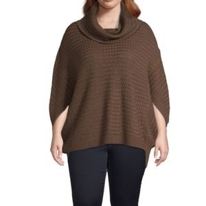 A.N.A Womens brown cowl neck poncho sweater plus